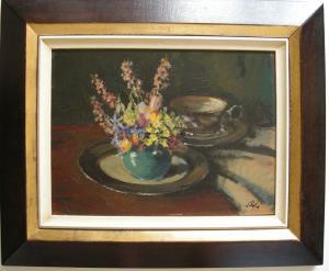 Paul Erbe (1894-1972) Blumenstilleben mit Tasse Öl auf Platte signiert um1950