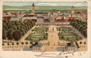 AK  Karlsruhe Panorama Schlosspark Litho Baden Württemberg gel 1903