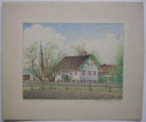 Arget Sauerlach München Oberbayern Orig Farblithografie Eugen Heinfling 1947
