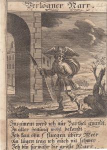 Verlogener Narr Lügner Orig Kupferstich Abraham a Sancta Clara 1709