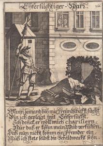 Eifersüchtiger Narr Eifersucht Orig Kupferstich Abraham a Sancta Clara 1709