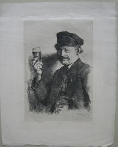 Wilhelm Leibl (1844-1900) Der Trinker - Wirt Rauecker Orig Radierung 1874