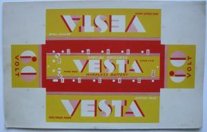 VESTA Wireless Battery Verpackung Probedruck 1930 Reklame Publicity Lithografie