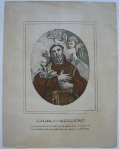 St. Fidelis von Sigmaringen Märtyrer Orig Farblithografie 1860