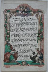 Johannes Evangelium Prolog Schmuckrahmen kolor. Orig Kupferstich 1780
