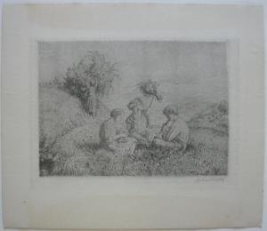 Arthur Riedel (1888-1953) Kinder auf Wiese Orig. Radierung 1930 signiert