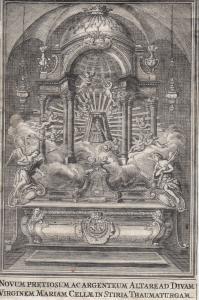 Gnadenbild Mariazell Altar Wallfahrt Österreich Steiermark 1750 Kupferstich