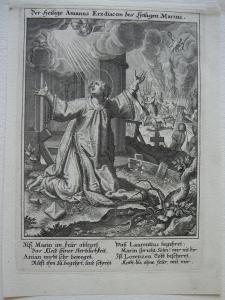 Heiliger Anianus christlicher Märtyrer Wilparting Orig Kupferstich Sadeler 1615