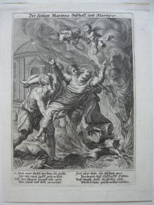 Heiliger Marinus christlicher Märtyrer Wilparting Orig Kupferstich Sadeler 1615