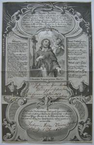 Bruderschaftsbrief Hl. Nepomuk St. Moritz Augsburg Orig Kupferstich Kleinschmidt