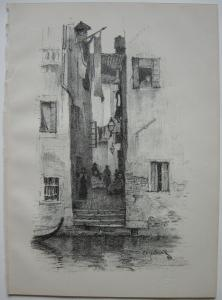 Charles Edw. Holloway (1838-1897) Street in Venice Venezia Orig Lithografie 1898