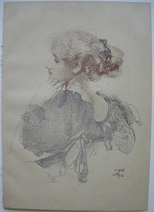 Walter West (1860-1933) Portrait junge Dame Orig Lithografie 1896