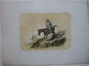 Nicht sattelfester Reiter kolor Orig Lithografie Tony Strassgschwandtner 1860