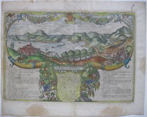 Pozzuoli Ischia Bacoli Neapel kolor Orig Kupferstich Braun Hogenberg 1580