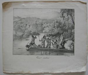 Brasilien Canot indien Fischende Indios Orig Lithografie Honegger 1845 Bresil
