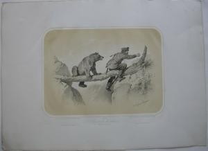 Jäger u Bär Jagd-Abenteuer kolor Orig Lithografie Tony Strassgschwandtner 1860