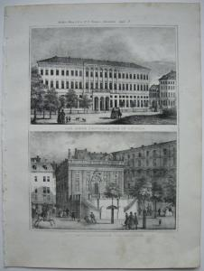 Leipzig Neues Postgebäude Handelsbörse Sachsen Orig. Lithografie 1840