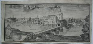 Grimma Gesamtansicht Mulda Steinerne Brücke Sachsen Orig Kupferstich 1780
