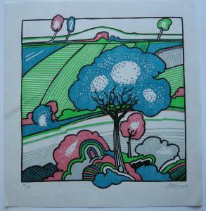 Arwed Gorella (1937-2002) Geometrische Landschaft Orig. Linolschnitt 1969 sign