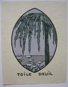 Toile Deuil Orig Pochoir ART DECO 1910 Frankreich France