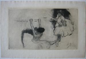 Louis Legrand (1863-1952) de la barre Ballett-Tänzerinnen Orig. Aquatinta 1920