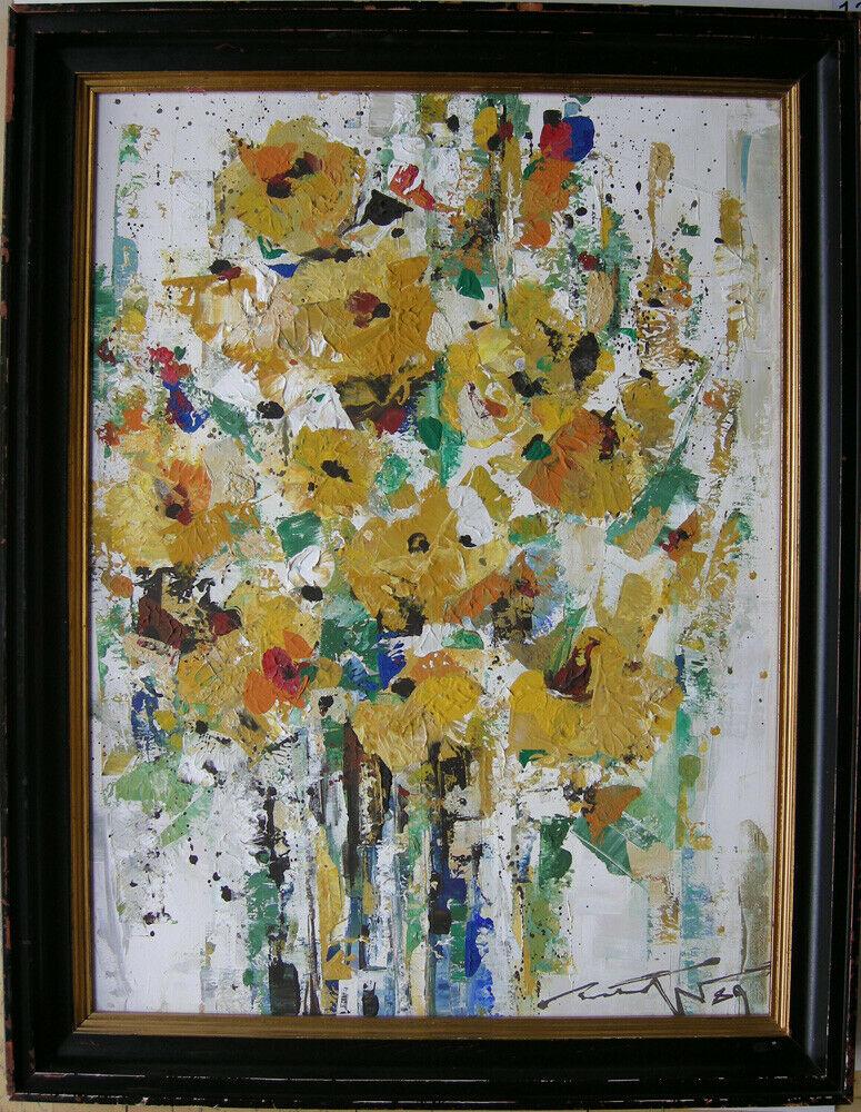 Hans Prähofer (1920-2005) Blumenstilleben in Gelb Öl auf Leinwand 1989 sign 0