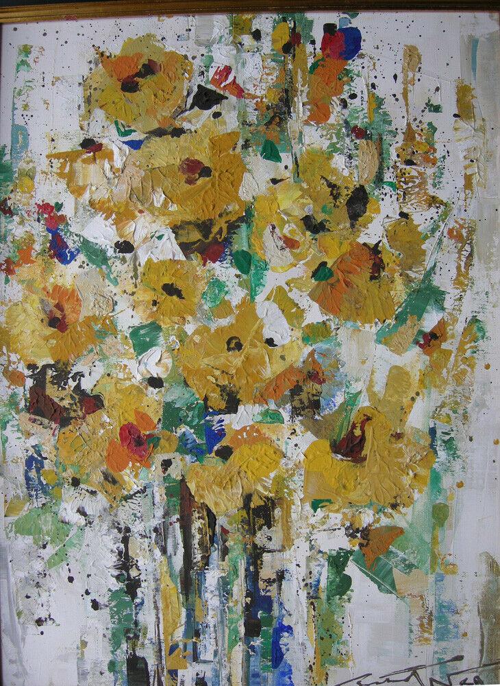 Hans Prähofer (1920-2005) Blumenstilleben in Gelb Öl auf Leinwand 1989 sign 1