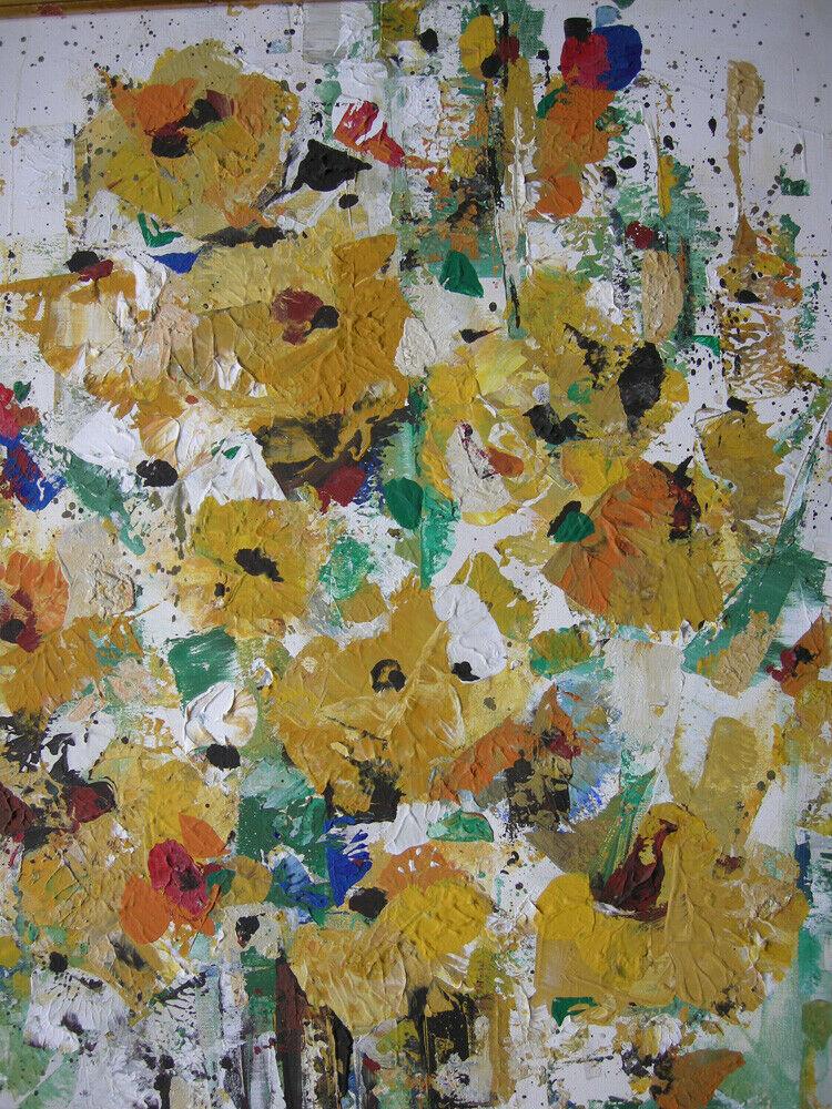Hans Prähofer (1920-2005) Blumenstilleben in Gelb Öl auf Leinwand 1989 sign 2