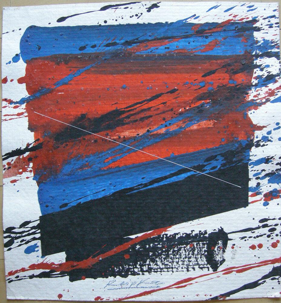 Jürgen Reipka (1921-2014) Geometrische Komposition Rot Blau Schwarz Acryl 1984 0