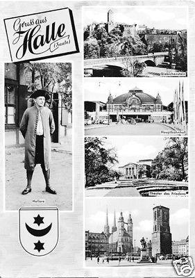 Ansichtskarte, Halle Saale, fünf Abb., gestaltet, 1964