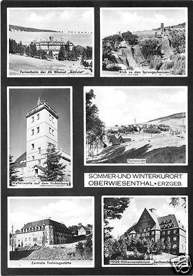 Ansichtskarte, Kurort Oberwiesenthal, sechs Abb., gestaltet, u.a. Zentrale Trainingsstätte