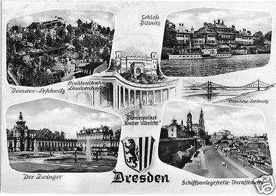 Ansichtskarte, Dresden, sechs Abb., gestaltet, 1963