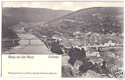 Ansichtskarte, Carlshafen, Karlshafen, Gesamtansicht mit Wesertal, um 1906