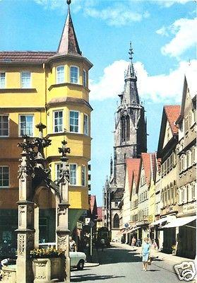 Ansichtskarte, Reutlingen, Straßenpartie mit Marienkirche, 1969