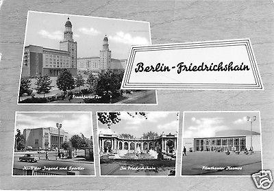 Ansichtskarte, Berlin Friedrichshain, vier Abb., gestaltet, 1965
