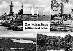 Ansichtskarte, Berlin Köpenick, Der Müggelturm gestern und heute, fünf Abb., 1968