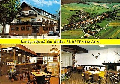 Ansichtskarte, Uslar, OT Fürstenhagen, Landgasthaus Zur Linde, vier Abb., um 1985
