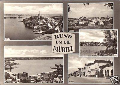 Ansichtskarte, Rund um die Müritz, fünf Abb., gestaltet, Röbel, Waren (3), Mirow, 1966