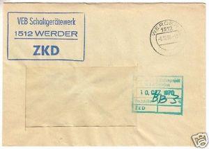 ZKD-Brief, VEB Schaltgerätewerk 1512 Werder, Werder 1, 1512, 9.12.70