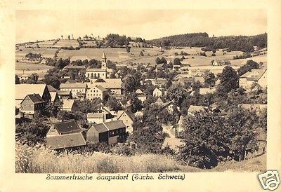 Ansichtskarte, Saupsdorf Sächs. Schweiz, Teilansicht, Echtfoto, 1956