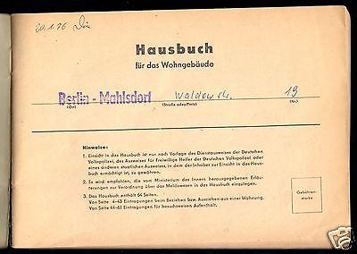 Hausbuch mit zahlreichen Eintragungen, Berlin Mahlsdorf, Waldowstr. 19, 1975 1