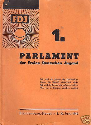 Delegiertenmappe zum 1. Parlament der FDJ, Brandenburg (Havel), 8.-10.Juni 1946 0