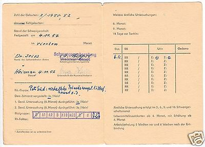 Ausweis für Schwangere und Wöchnerinnen, Weimar 1957, Stillbescheinigung 1958 1