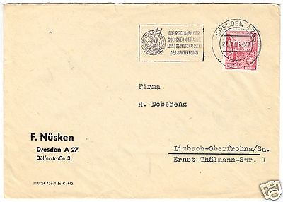 Bedarfspost, Mi.-Nr. DDR, 455 EF, Fa. F. Nüsken, Dresden, o Dresden A 24, 1956