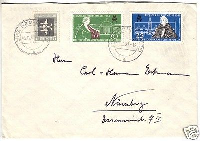 Bedarfsbrief, DDR, Mi.-Nr. 649, 650, 609 Mif, o Leuna (Kr. Merseburg), 5.12.58