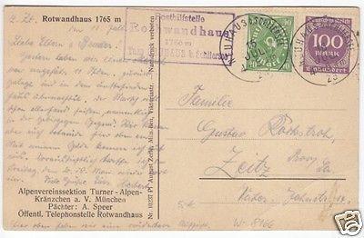 Posthilfsstellenstempel: Rothwandhaus, Neuhaus b. Schliersee, 16.7.23