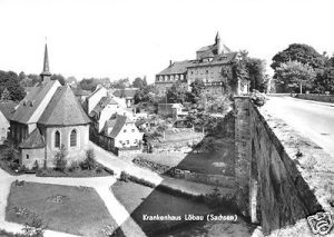 Ansichtskarte, Löbau Sachs., Blick zum Krankenhaus, 1968