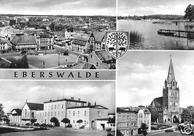 Ansichtskarte, Eberswalde, vier Abb., Wappen, 1966