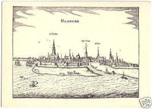 Ansichtskarte, Hamburg, Gesamtansicht nach einer Radierung von Bertius (1616), um 1938