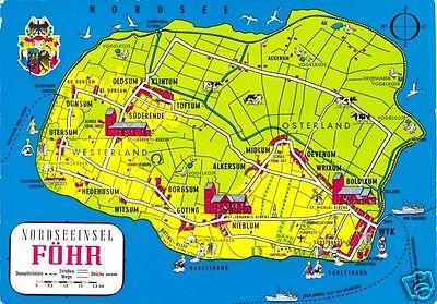 Ansichtskarte, Nordseeinsel Föhr, Landkarte der Insel, 1991